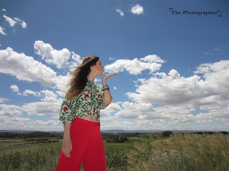 Smile combinable nubes rojo estampado
