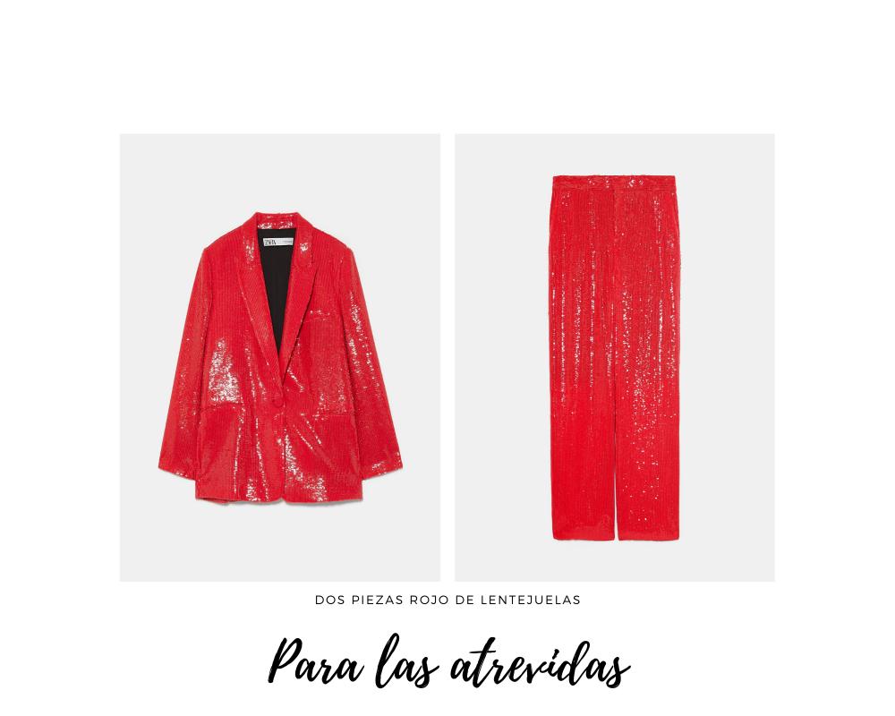 traje pantalón rojo con lentejuelas