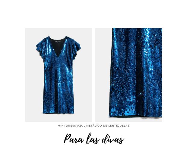 vestido azul metalizado con lentejuelas