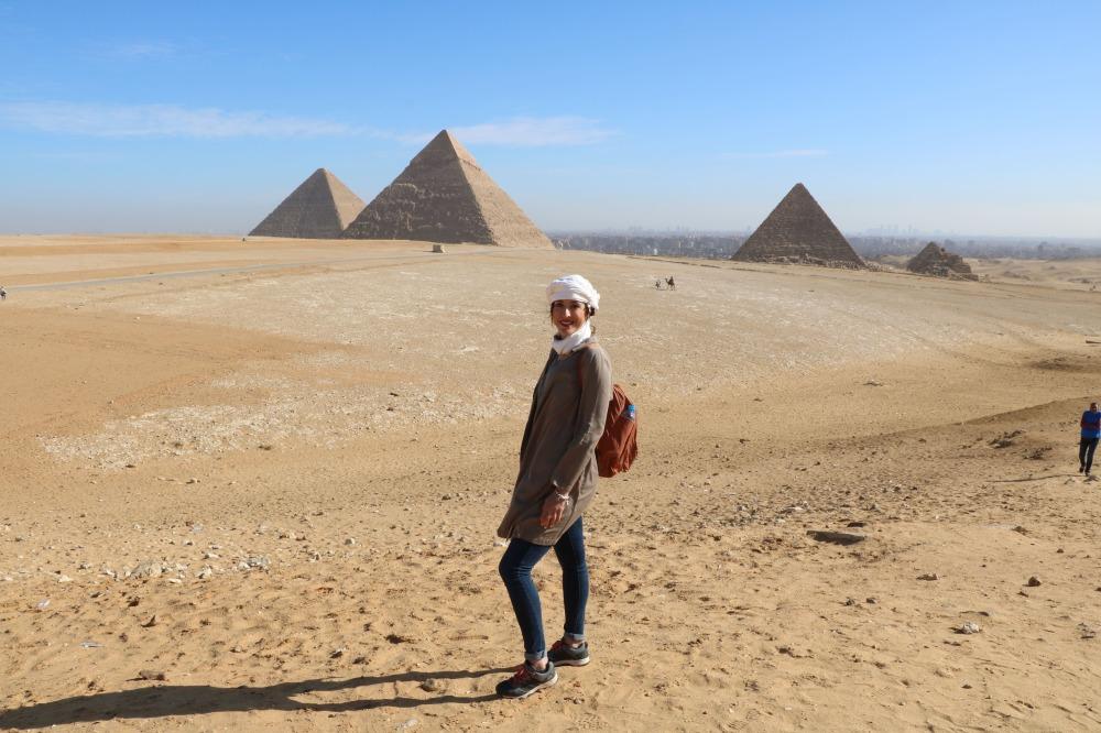 vista panorámica de las pirámides en el Cairo